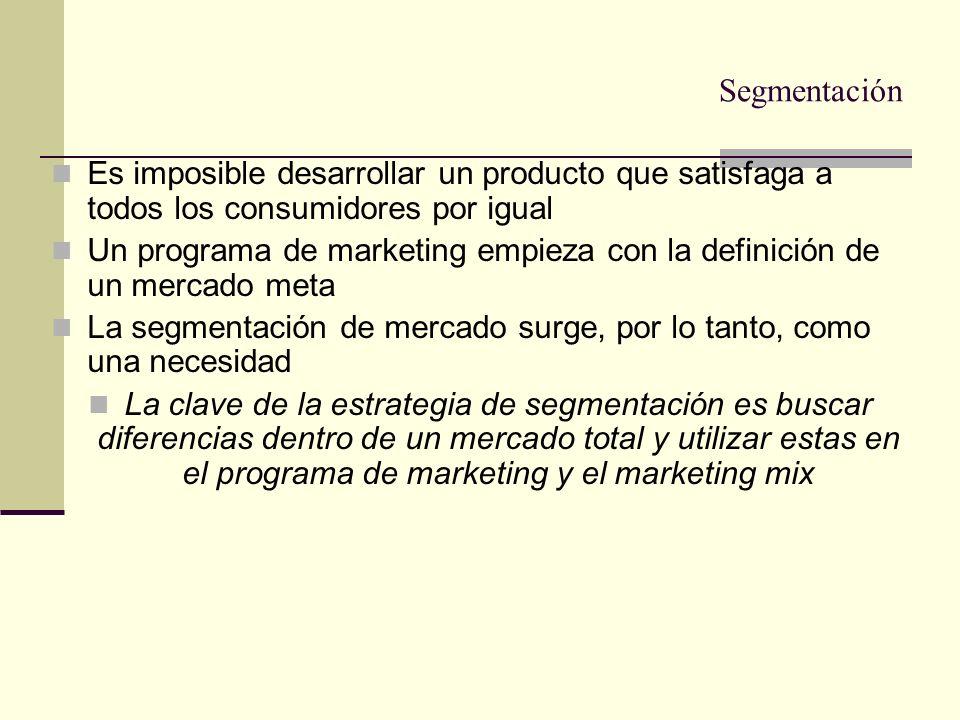SegmentaciónEs imposible desarrollar un producto que satisfaga a todos los consumidores por igual.