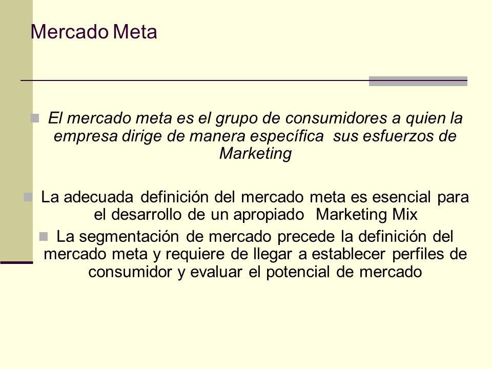 Mercado Meta El mercado meta es el grupo de consumidores a quien la empresa dirige de manera específica sus esfuerzos de Marketing.