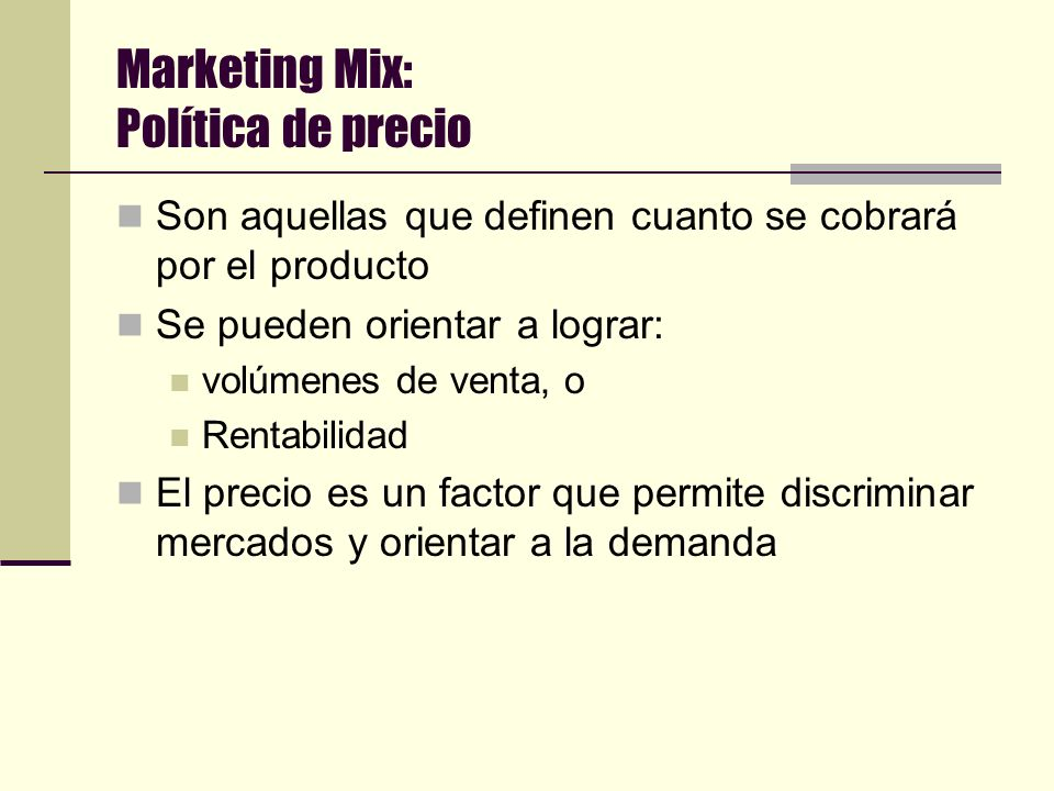 Marketing Mix: Política de precio