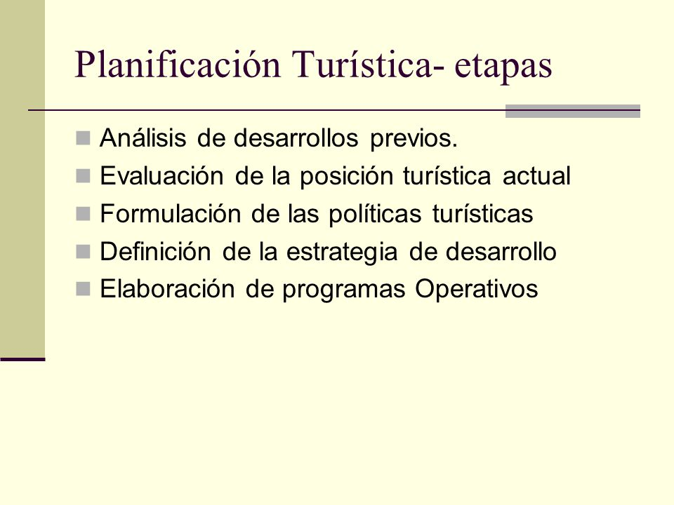 Planificación Turística- etapas
