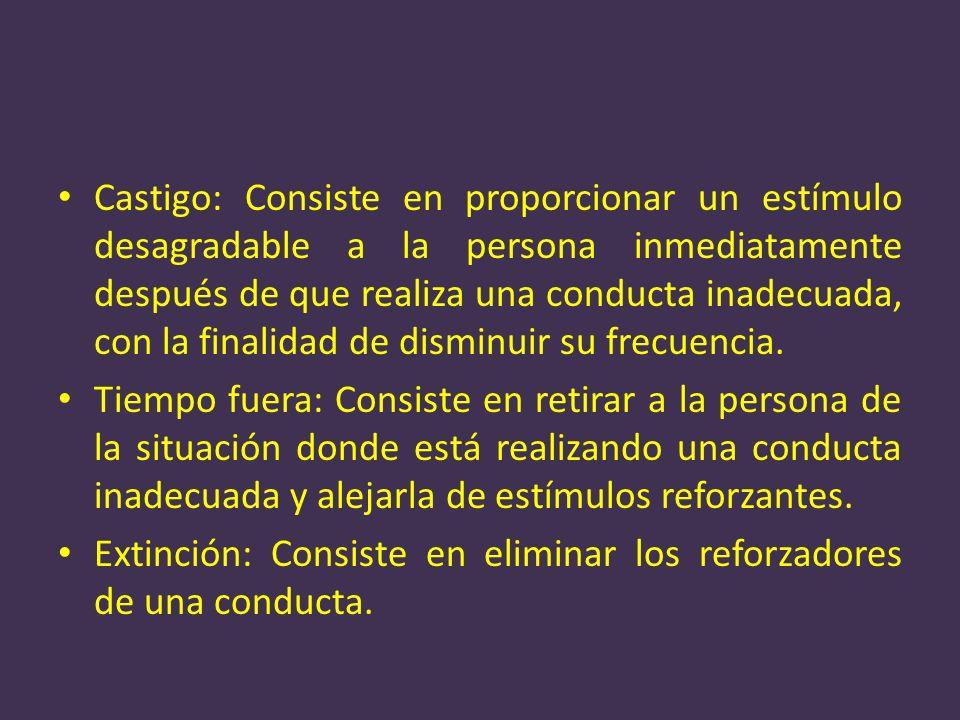 Castigo: Consiste en proporcionar un estímulo desagradable a la persona inmediatamente después de que realiza una conducta inadecuada, con la finalidad de disminuir su frecuencia.