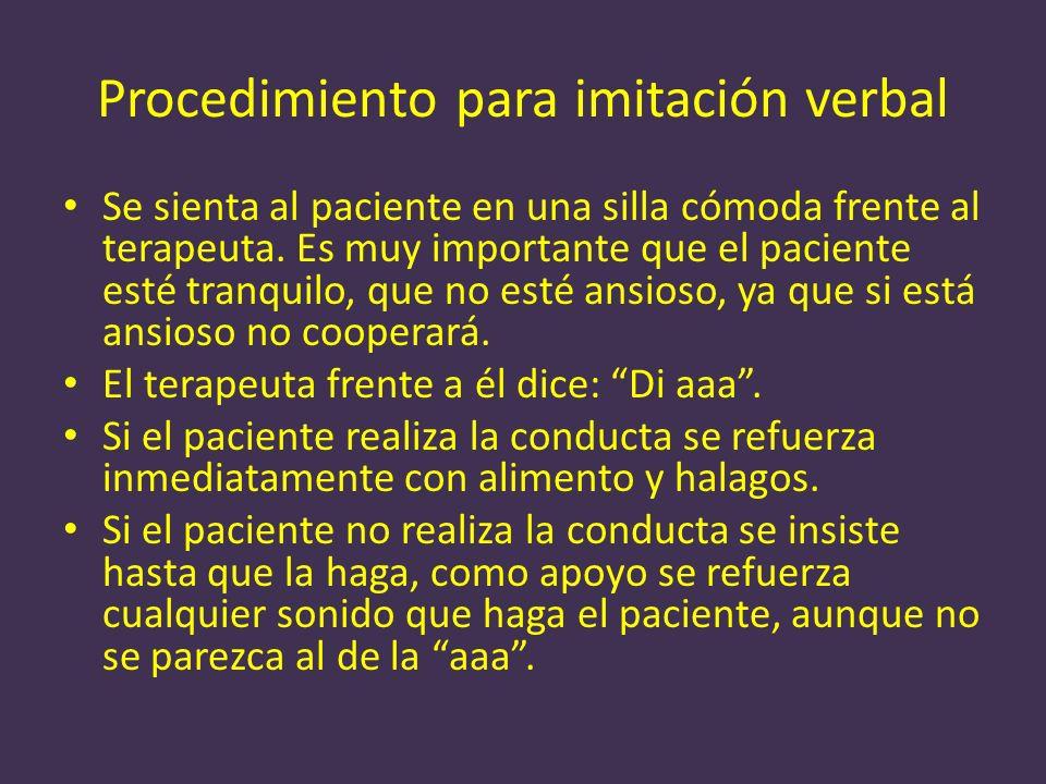 Procedimiento para imitación verbal