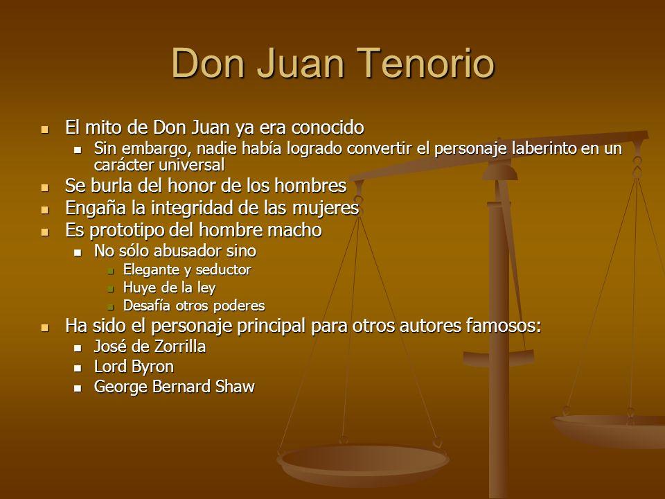 Don Juan Tenorio El mito de Don Juan ya era conocido