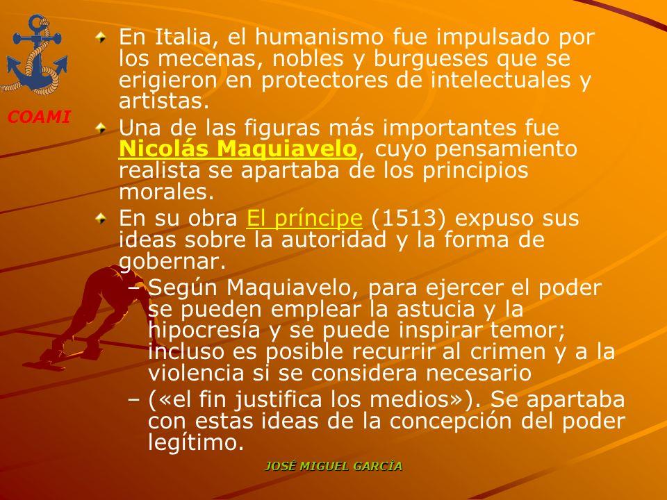 En Italia, el humanismo fue impulsado por los mecenas, nobles y burgueses que se erigieron en protectores de intelectuales y artistas.