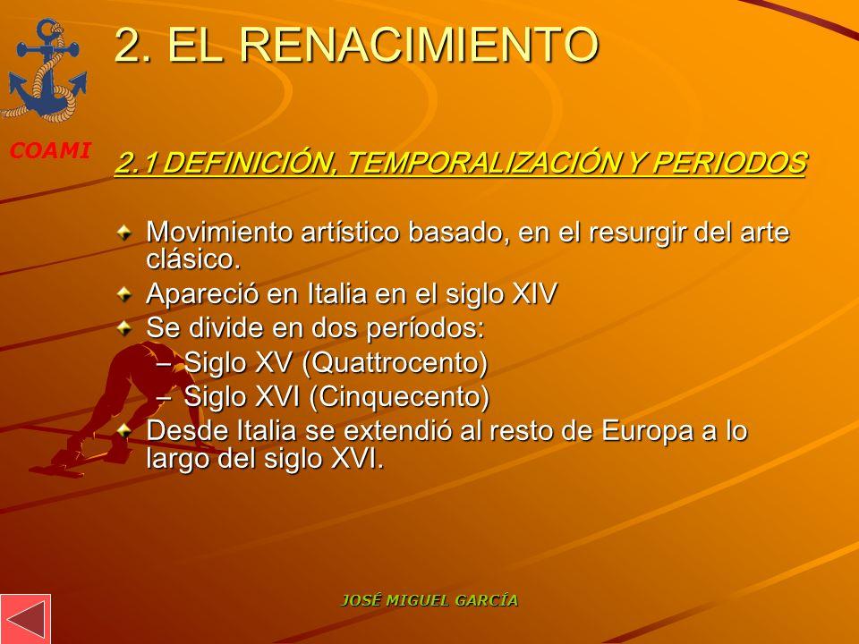 2. EL RENACIMIENTO 2.1 DEFINICIÓN, TEMPORALIZACIÓN Y PERIODOS