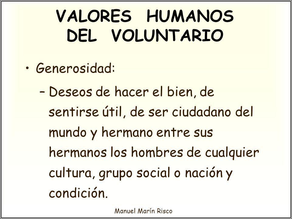 VALORES HUMANOS DEL VOLUNTARIO