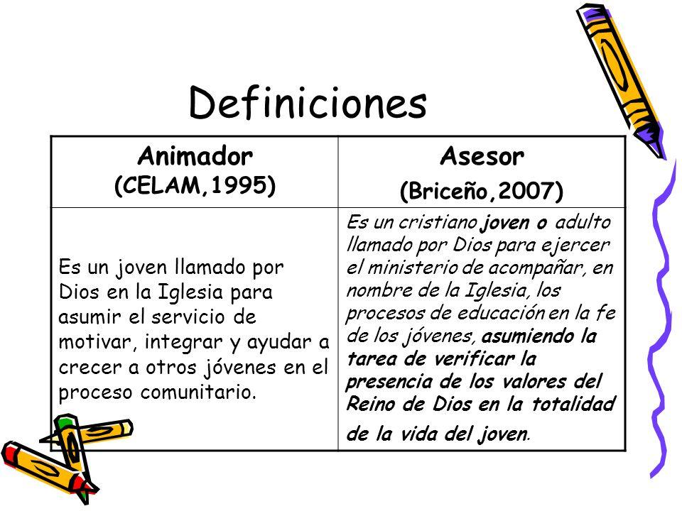 Definiciones Animador (CELAM,1995) Asesor (Briceño,2007)
