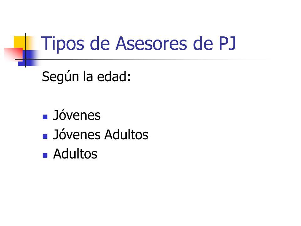 Tipos de Asesores de PJ Según la edad: Jóvenes Jóvenes Adultos Adultos