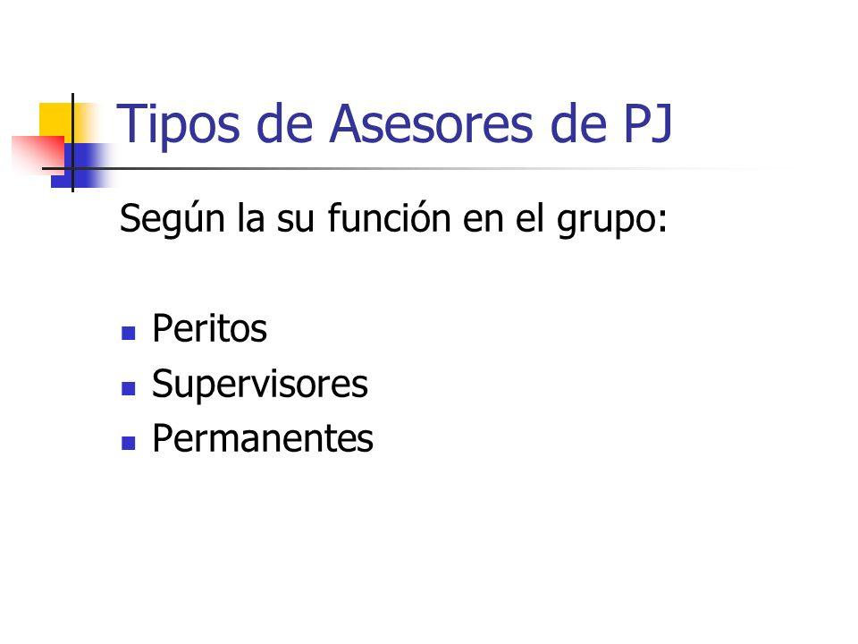 Tipos de Asesores de PJ Según la su función en el grupo: Peritos