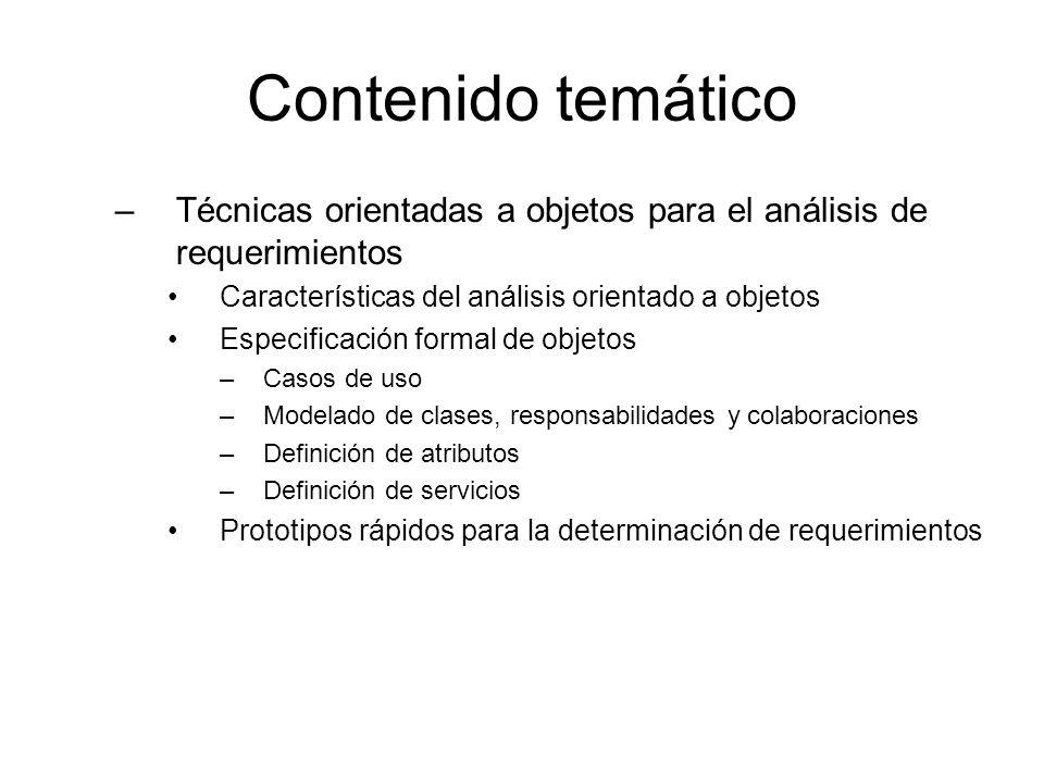 Contenido temático Técnicas orientadas a objetos para el análisis de requerimientos. Características del análisis orientado a objetos.