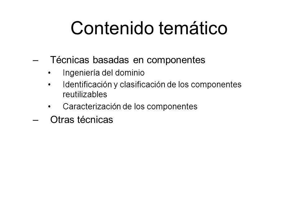 Contenido temático Técnicas basadas en componentes Otras técnicas