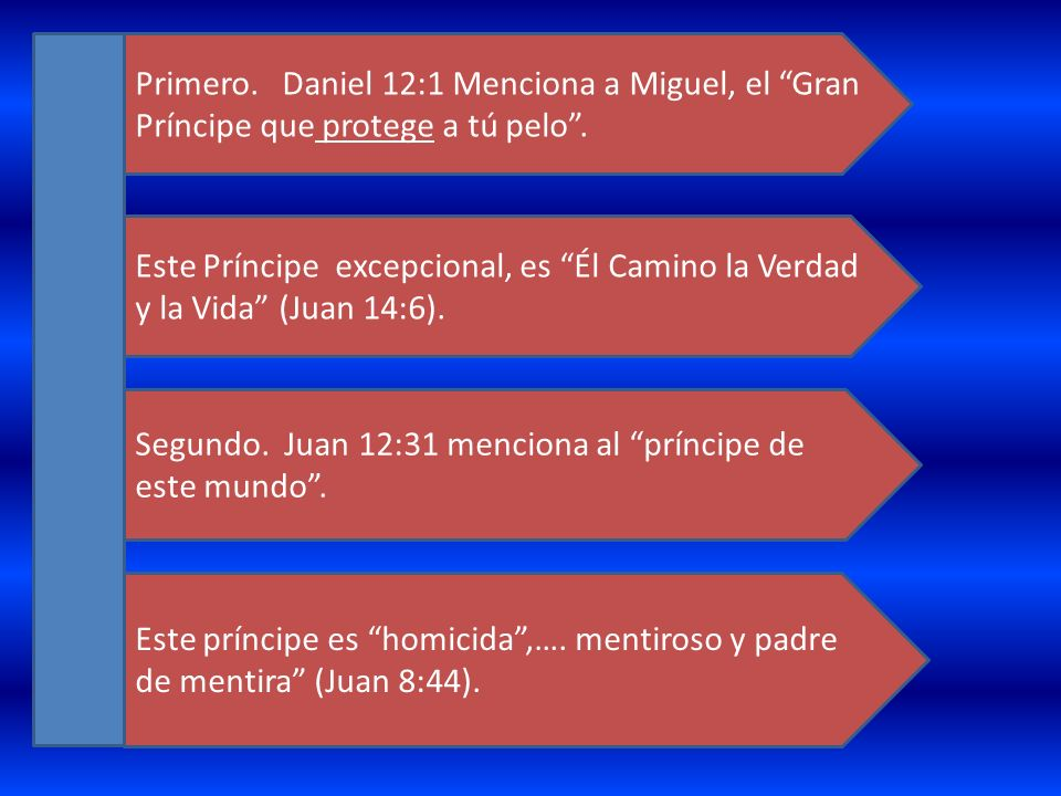 Primero. Daniel 12:1 Menciona a Miguel, el Gran Príncipe que protege a tú pelo .