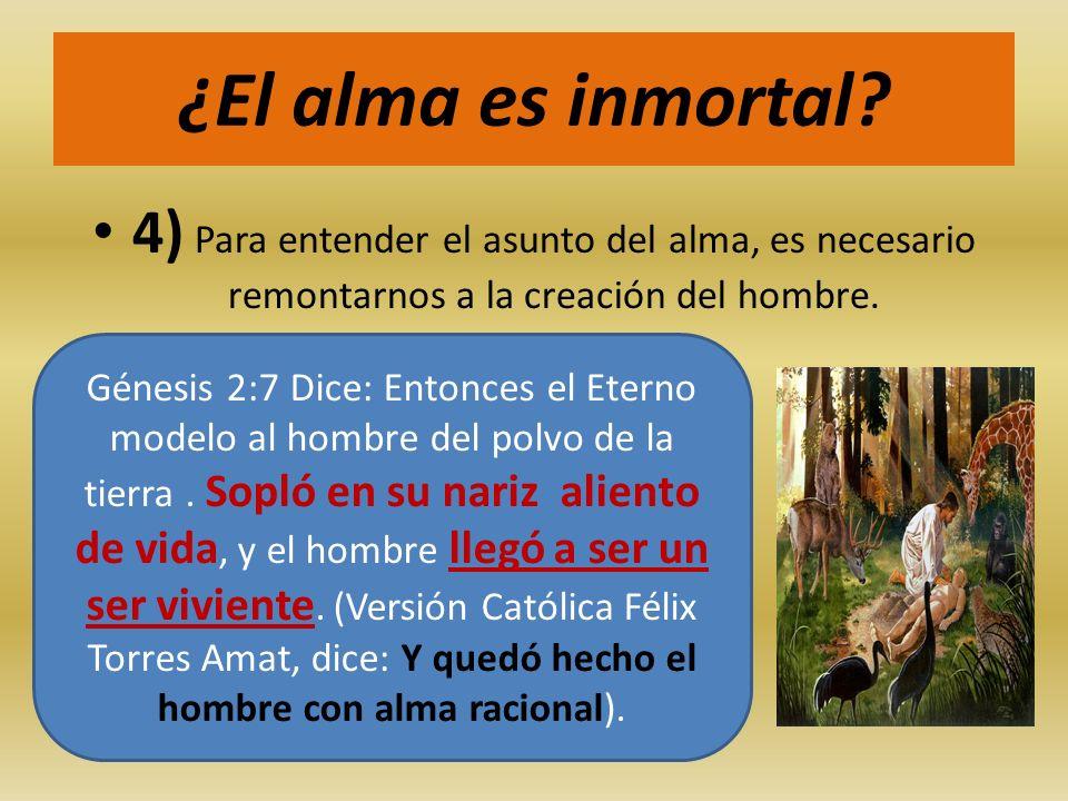 ¿El alma es inmortal 4) Para entender el asunto del alma, es necesario remontarnos a la creación del hombre.