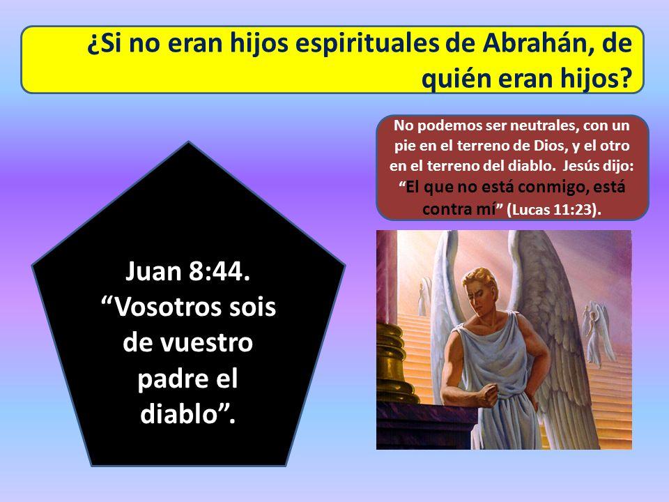 Juan 8:44. Vosotros sois de vuestro padre el diablo .