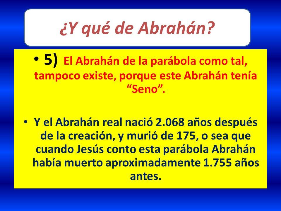 ¿Y qué de Abrahán 5) El Abrahán de la parábola como tal, tampoco existe, porque este Abrahán tenía Seno .