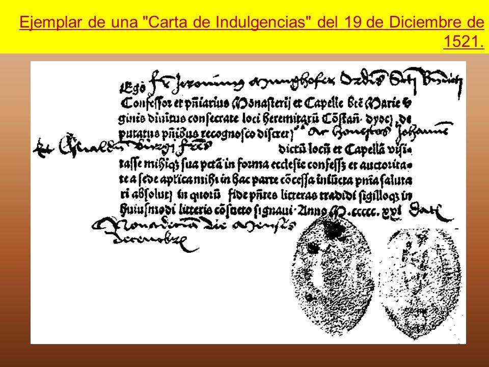 Ejemplar de una Carta de Indulgencias del 19 de Diciembre de 1521.