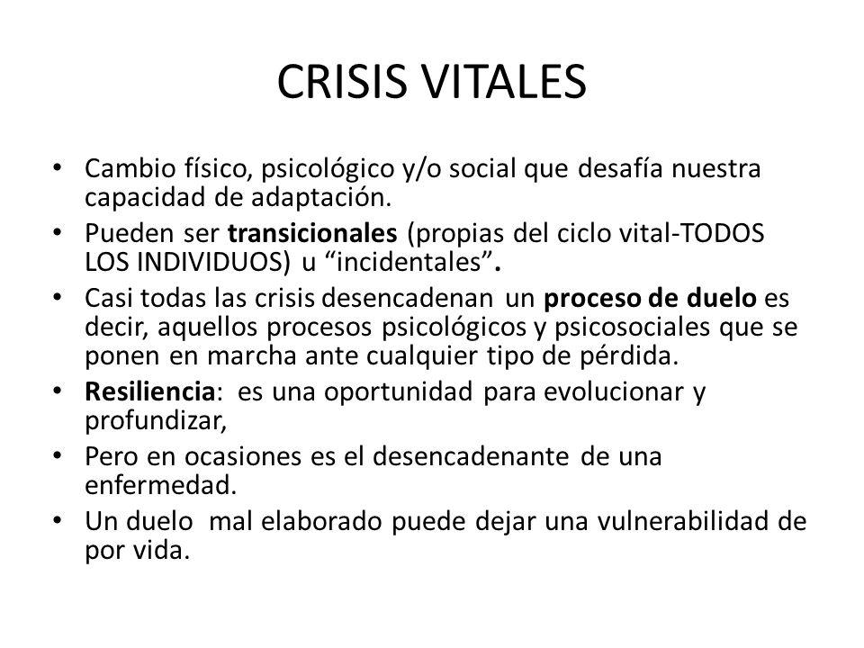 CRISIS VITALES Cambio físico, psicológico y/o social que desafía nuestra capacidad de adaptación.