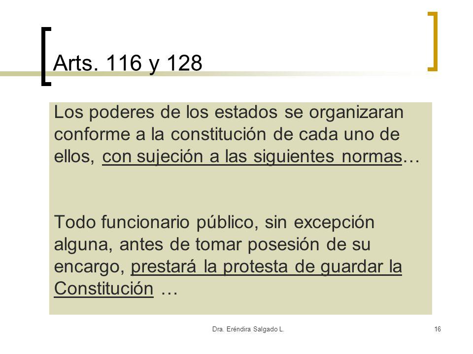 Arts. 116 y 128 Los poderes de los estados se organizaran