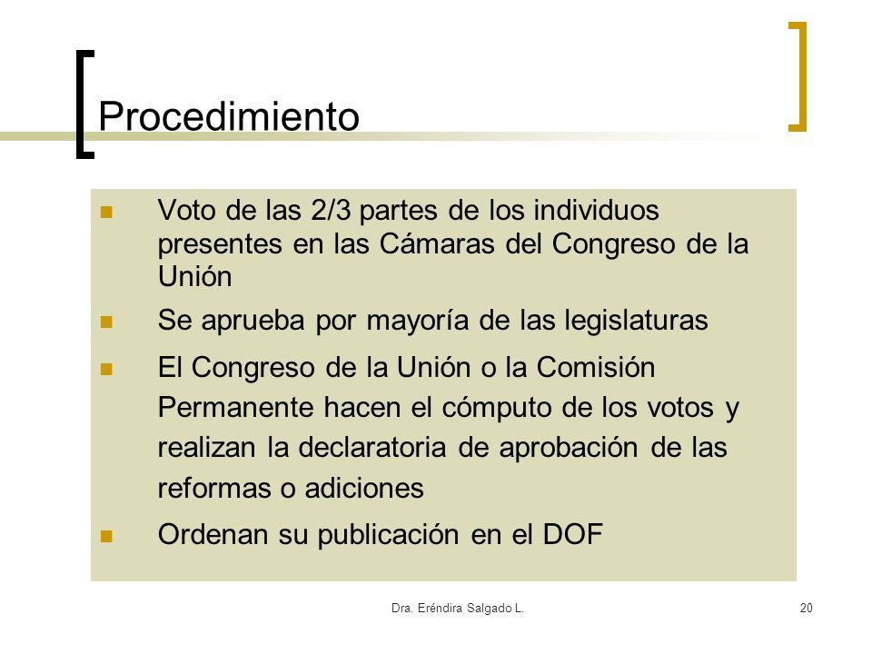 Procedimiento Voto de las 2/3 partes de los individuos presentes en las Cámaras del Congreso de la Unión.