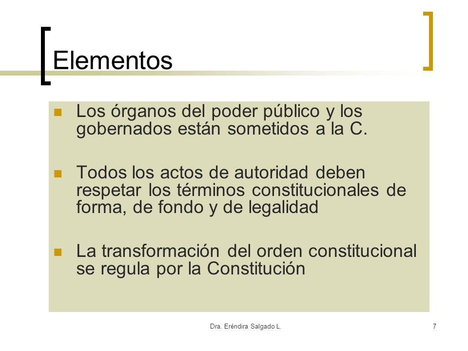Elementos Los órganos del poder público y los gobernados están sometidos a la C.