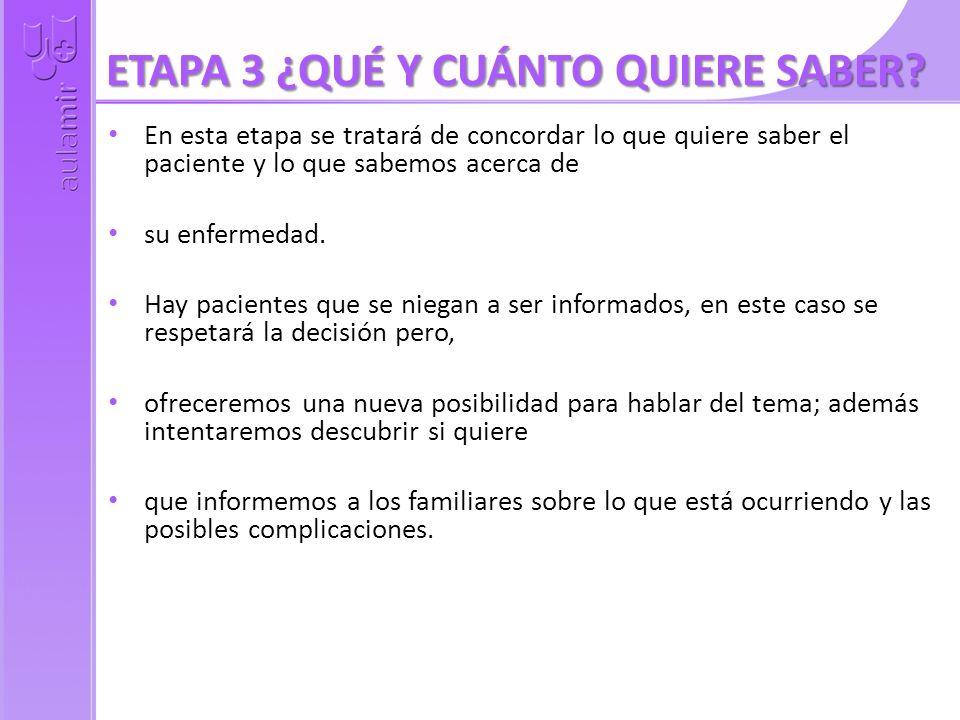 ETAPA 3 ¿QUÉ Y CUÁNTO QUIERE SABER