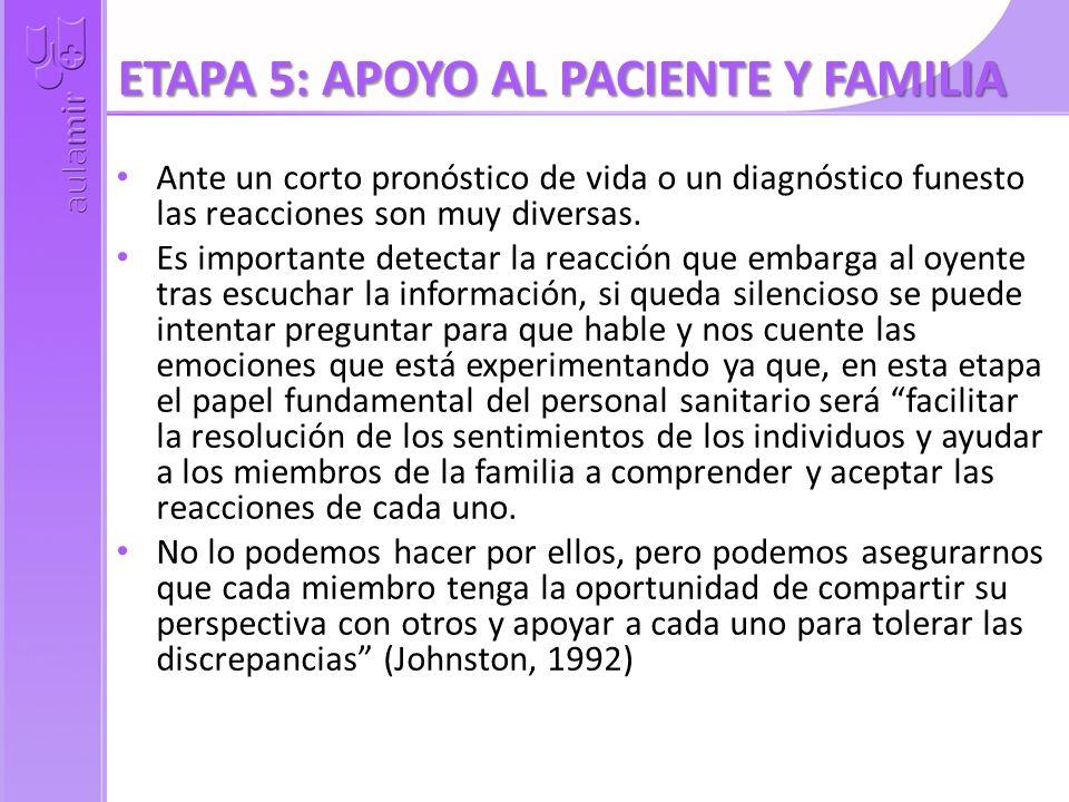 ETAPA 5: APOYO AL PACIENTE Y FAMILIA