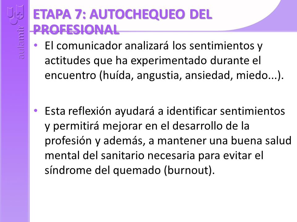 ETAPA 7: AUTOCHEQUEO DEL PROFESIONAL