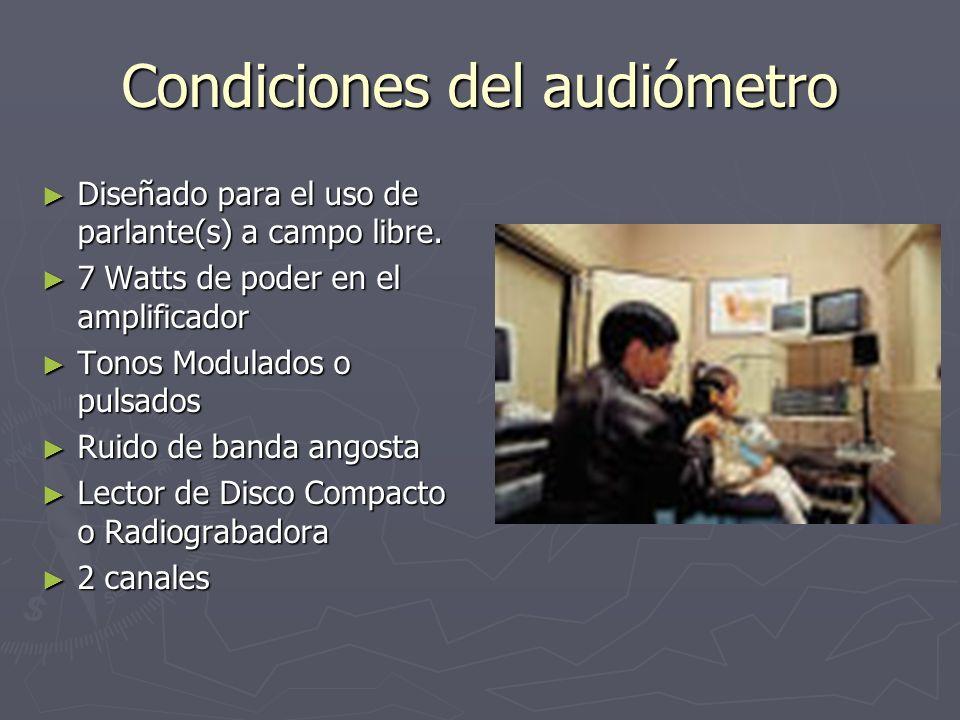 Condiciones del audiómetro