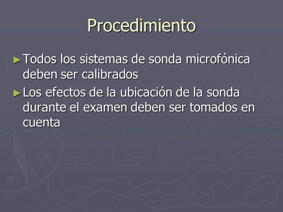 Procedimiento Todos los sistemas de sonda microfónica deben ser calibrados.