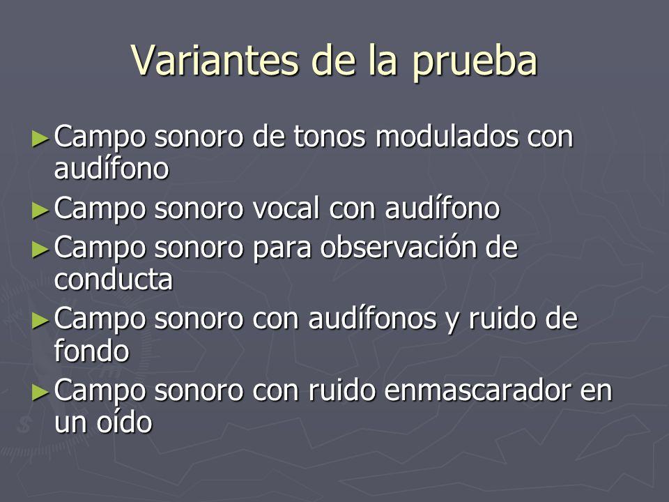 Variantes de la prueba Campo sonoro de tonos modulados con audífono