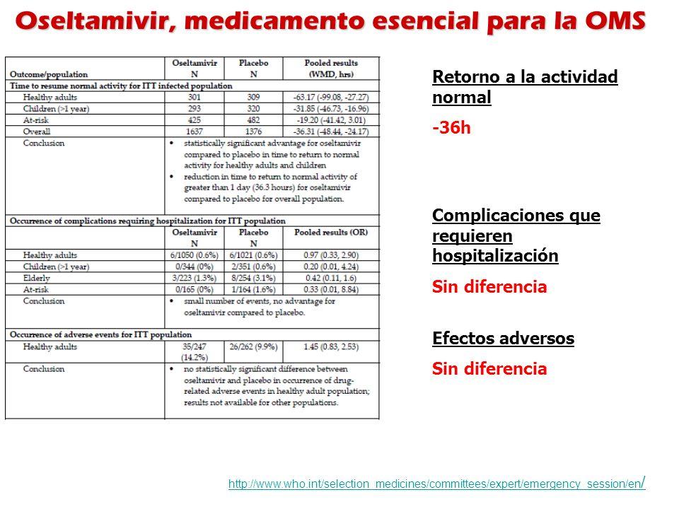 Oseltamivir, medicamento esencial para la OMS