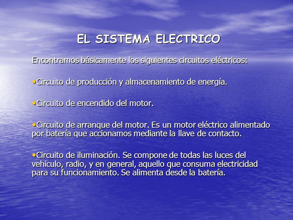 EL SISTEMA ELECTRICO Encontramos básicamente los siguientes circuitos eléctricos: Circuito de producción y almacenamiento de energía.