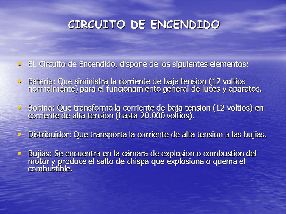CIRCUITO DE ENCENDIDO EL Circuito de Encendido, dispone de los siguientes elementos: