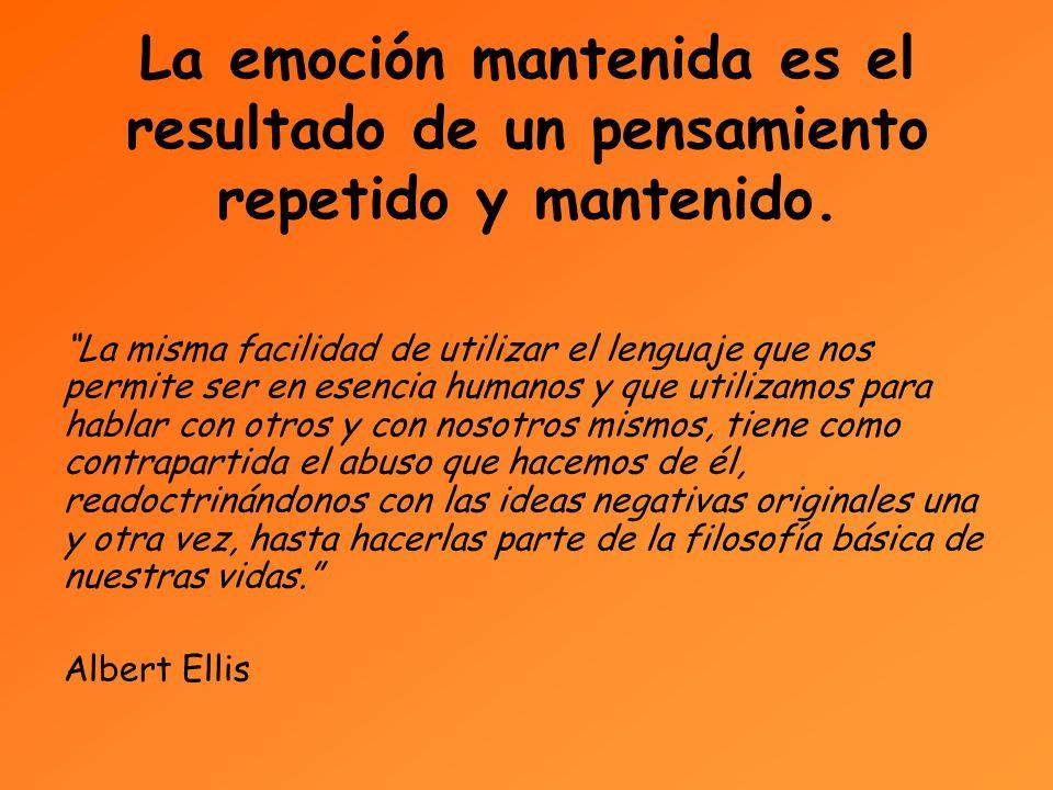 La emoción mantenida es el resultado de un pensamiento repetido y mantenido.