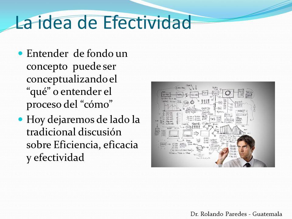 La idea de Efectividad Entender de fondo un concepto puede ser conceptualizando el qué o entender el proceso del cómo