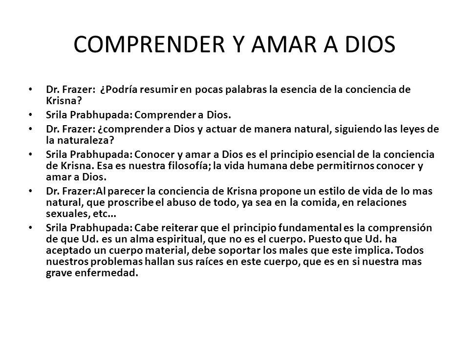 COMPRENDER Y AMAR A DIOS