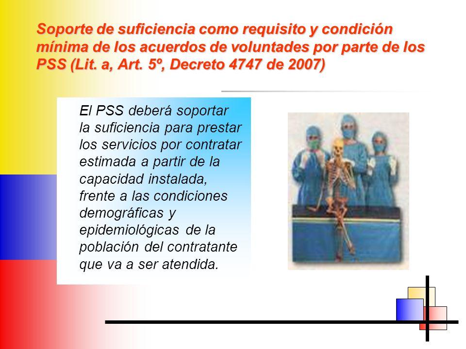 Soporte de suficiencia como requisito y condición mínima de los acuerdos de voluntades por parte de los PSS (Lit. a, Art. 5º, Decreto 4747 de 2007)