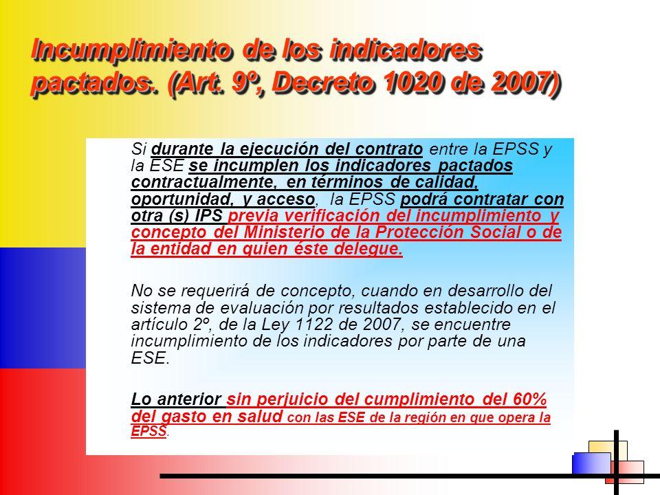 Incumplimiento de los indicadores pactados. (Art
