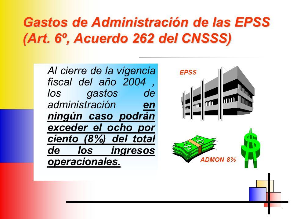 Gastos de Administración de las EPSS (Art. 6º, Acuerdo 262 del CNSSS)