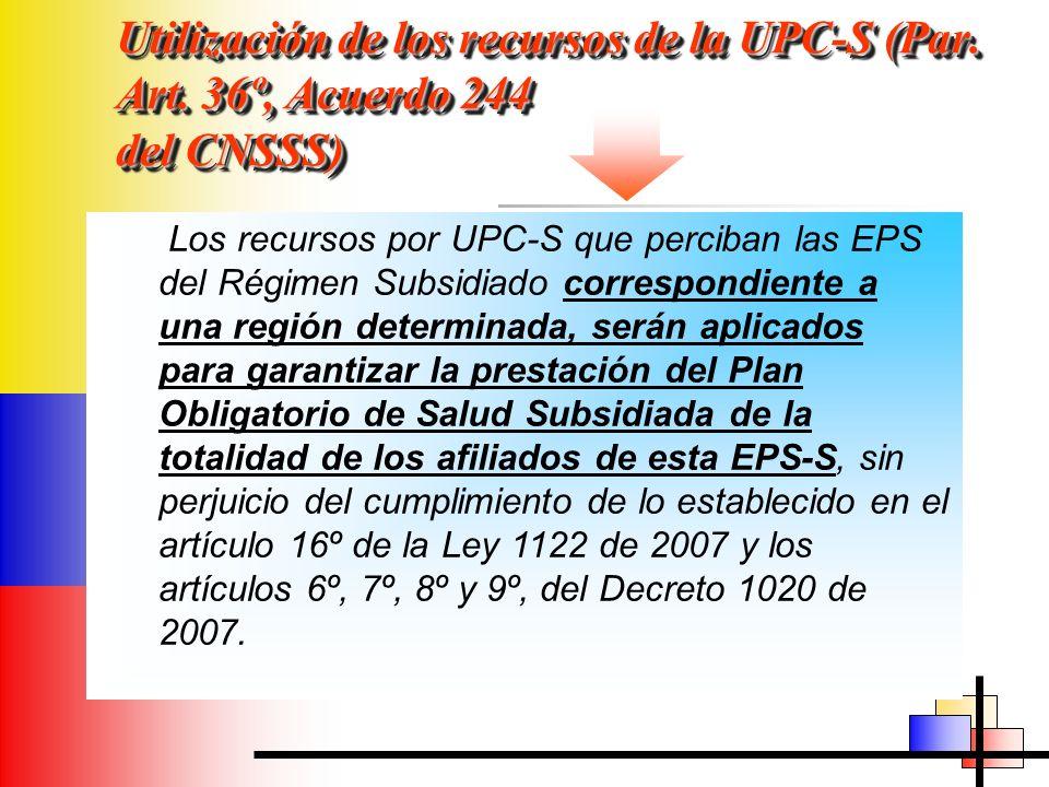 Utilización de los recursos de la UPC-S (Par. Art