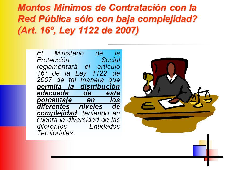 Montos Mínimos de Contratación con la Red Pública sólo con baja complejidad (Art. 16º, Ley 1122 de 2007)