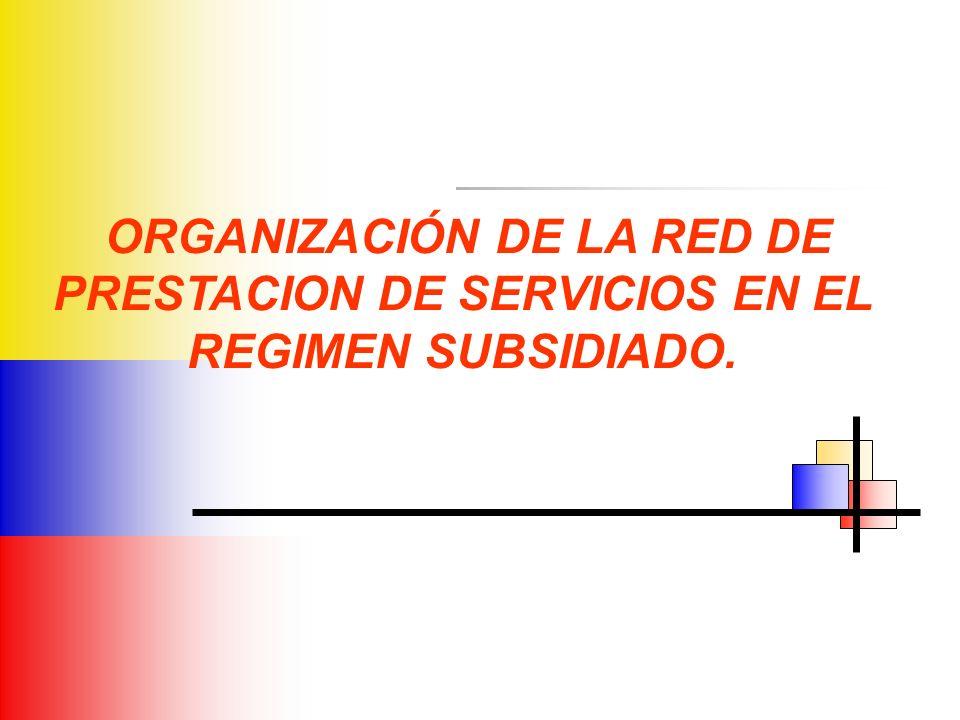 ORGANIZACIÓN DE LA RED DE PRESTACION DE SERVICIOS EN EL REGIMEN SUBSIDIADO.