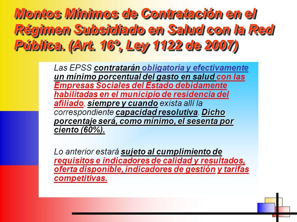 Montos Mínimos de Contratación en el Régimen Subsidiado en Salud con la Red Pública. (Art. 16º, Ley 1122 de 2007)