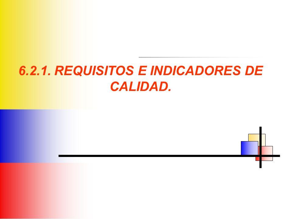 6.2.1. REQUISITOS E INDICADORES DE CALIDAD.
