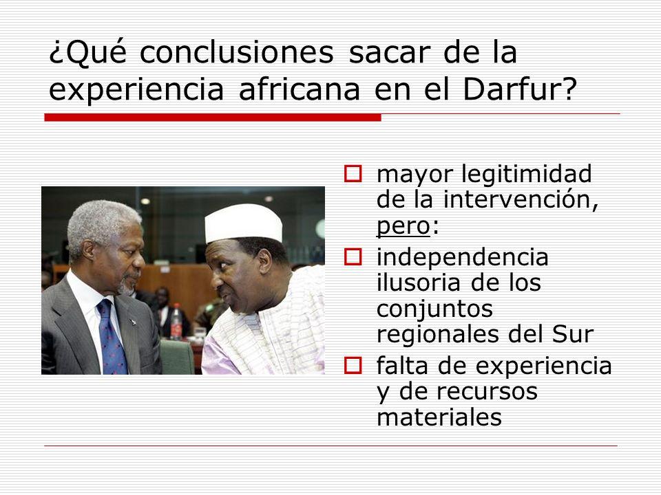 ¿Qué conclusiones sacar de la experiencia africana en el Darfur