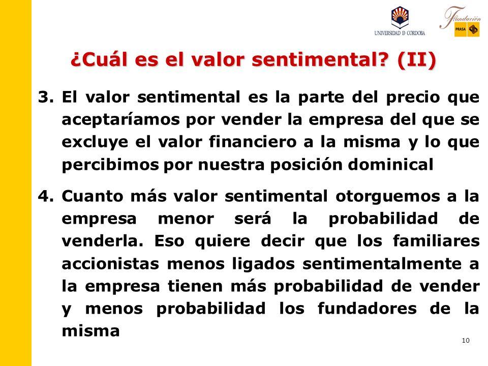 ¿Cuál es el valor sentimental (II)