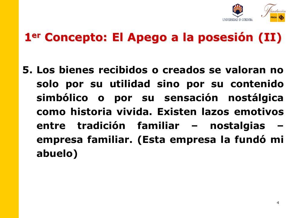 1er Concepto: El Apego a la posesión (II)