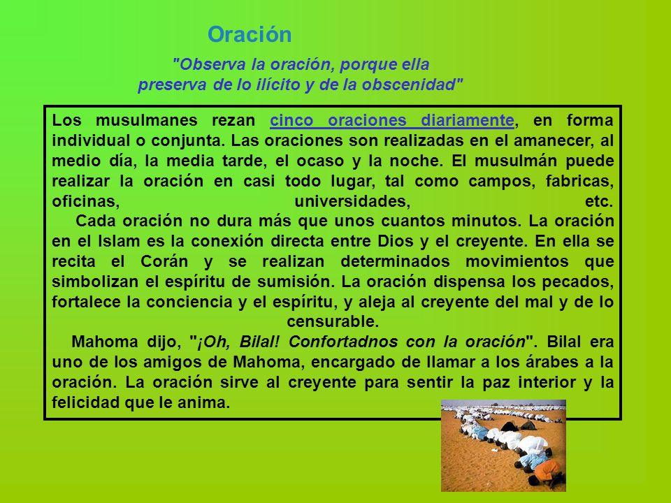 Oración Observa la oración, porque ella preserva de lo ilícito y de la obscenidad