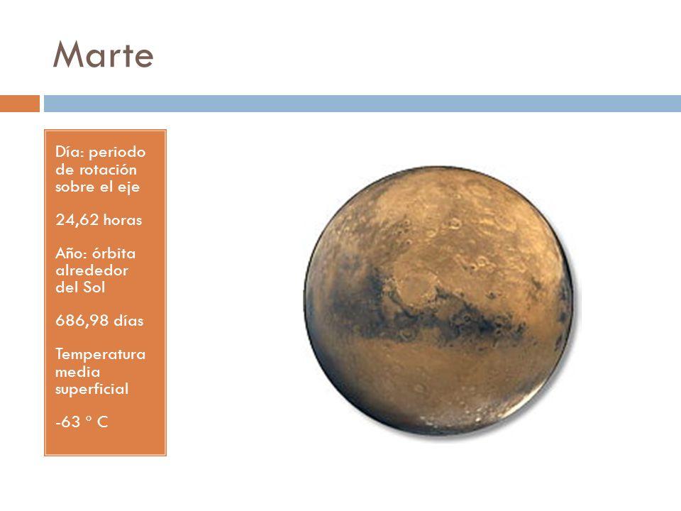 Marte Día: periodo de rotación sobre el eje 24,62 horas