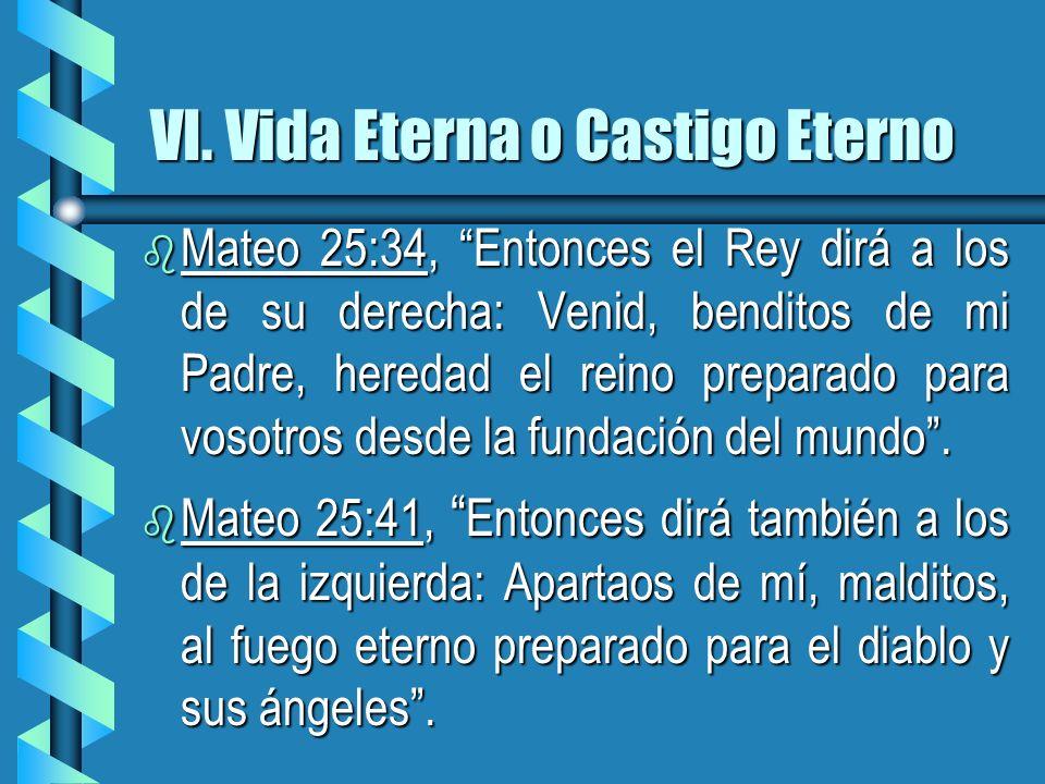 VI. Vida Eterna o Castigo Eterno